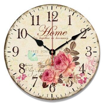 Popular European-Style Creative Fashion Modern Quartz Retro Simple Wooden Decorative Hanging Clock