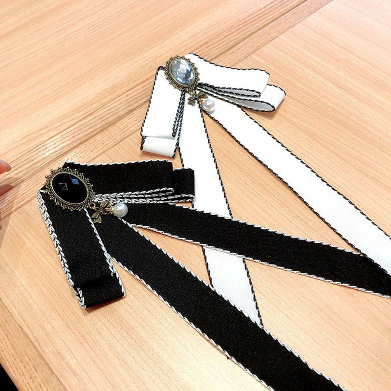 2019 Женская лента галстук-бабочка античный сплав имитация кристалла Ювелирная Брошь булавка галстук