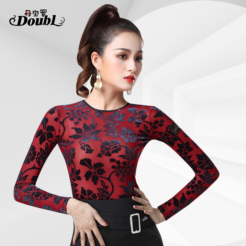 DOUBL Sexy Female UpperClothing Adults Latin Dance Top Modern Long Sleeve Practice Waltz Standard Dance Practise Tops For Women