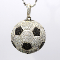 Football Soccer Ball Iced Pave Stone Out White Gold Plating Jewelry Necklace Pendant