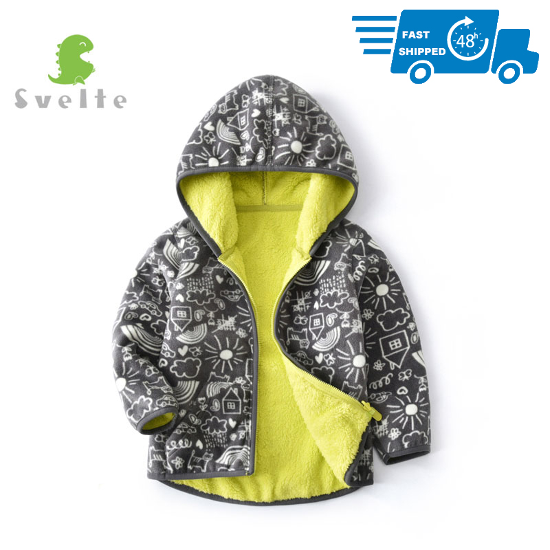 SVELTE Fall Winter for Children Boys' Thick Fur Soft Fleece Gray Graffiti Hoody Printed Blue Camo Hooded Jacket Coat Clothing