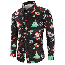 2019 Casual Print Long Sleeve Shirt Men Streetwear Summer Christmas Beach Fashion Loose Shirts Mens D30