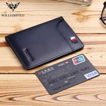 WILLIAMPOLO 2019 fashion brand men wallets genuine leather slim bifold credit card holder male pocket purse male clutch - DISCOUNT ITEM  64% OFF All Category
