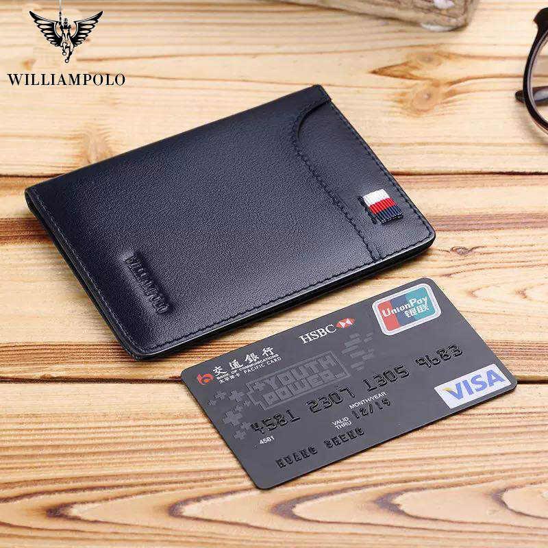 Williampolo ultra-fino carteira de couro masculino mini carteira curta vertical pacote de cartão de carteira masculina