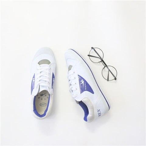 Ev ve Bahçe'ten Ayakkabı Rafları ve Organizatörleri'de Çift yıldız klasik Retro kore tarzı Ulzzang japon tarzı Harajuku Hong Kong tarzı çok yönlü COUPLE'S üç renkli beyaz ayakkabı title=