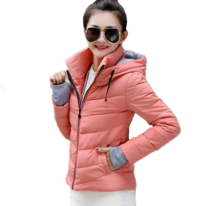 2019 Fashion Winter   Jacket   Women Hooded   Jackets   Women's Short Parks With Gloves Overdressed Cotton Wet   Basic     Jacket   Tops