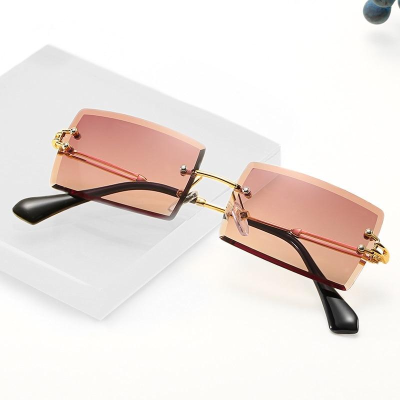 Retro Small Rectangle Sunglasses Women Rimless Square Sun Glasses For Women 2020 Summer Style Female Uv400 Green Brown Oculos