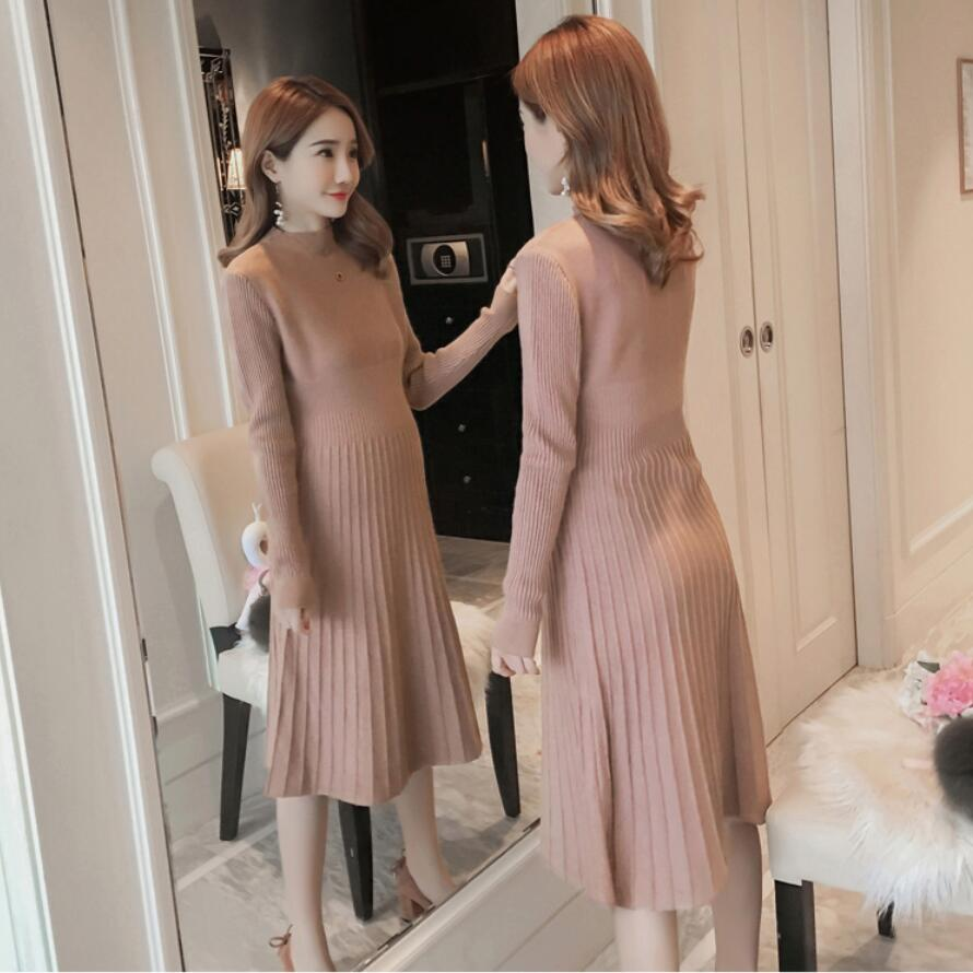 Maternity Dress Warm Autumn Winter Knitted Sweater Clothes For Pregnant Women Fall Elegant Pregnancy Sweaters Shirts 2019 New