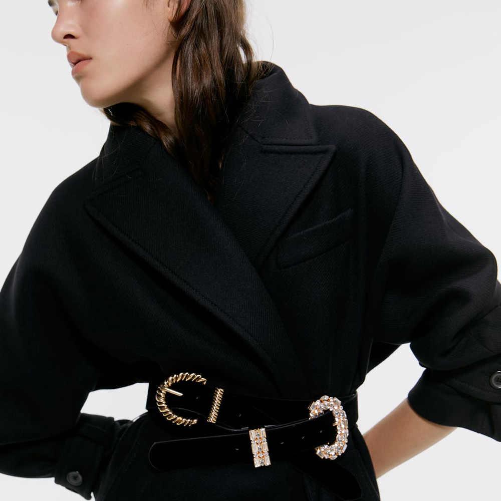Girlgo ZA moda kristal inci göbek zincirleri kadınlar için sahte siyah deri kemerler Maxi bildirimi bel takı yılbaşı hediyeleri