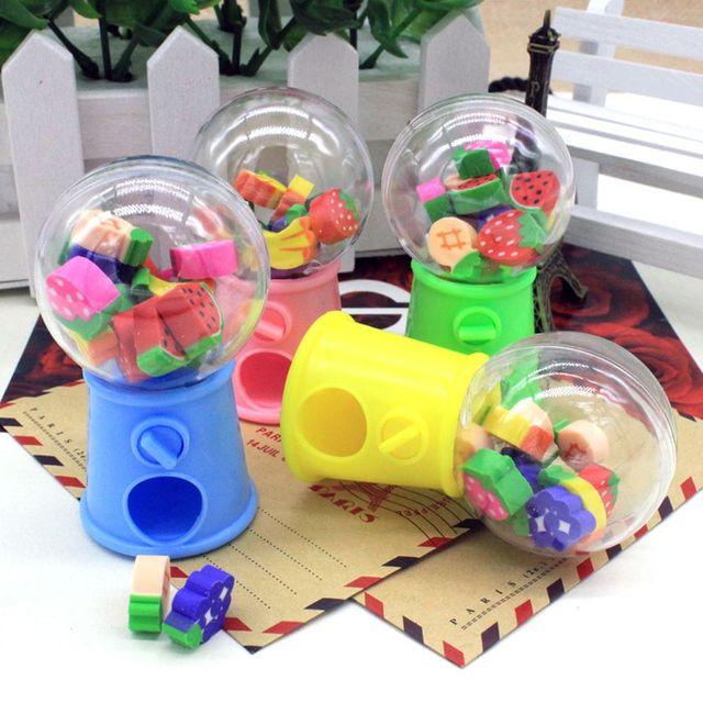 Anti-stress Novelty Gag Educational Toys Fruit Animal Shaped Candy Machine Eraser Mini Rubber Kids Funny Toys Children Games
