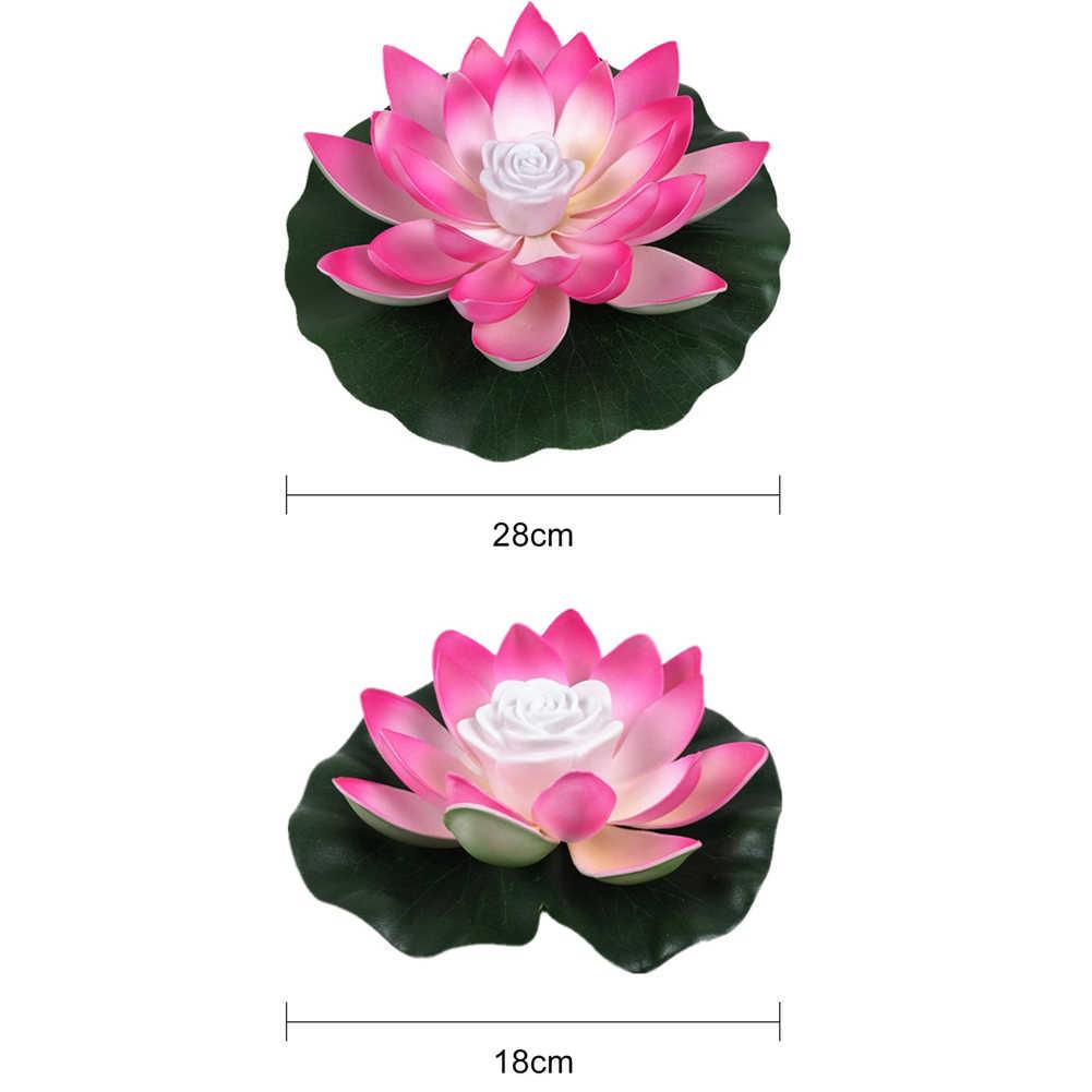 18/28cm Buatan Floating Lotus Malam Lampu LED Hemat Energi Lotus Lampu Taman Kolam Renang Kolam Air Mancur Dekorasi
