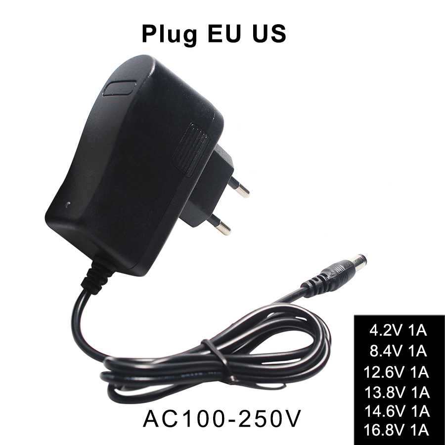 Lithium-Battery-Charger 4.2V 8.4V 12.6V 13.8V 14.6V 16.8V 1A 1000mA 18650 Charger Automatic Power Off EU US Plug Wall Charger