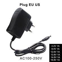 Lityum Pil Şarj Cihazı 4.2V 8.4V 12.6V 13.8V 14.6V 16.8V 1A 1000mA 18650 şarj cihazı Otomatik Güç Kapalı AB ABD Plug Duvar Şarj Cihazı
