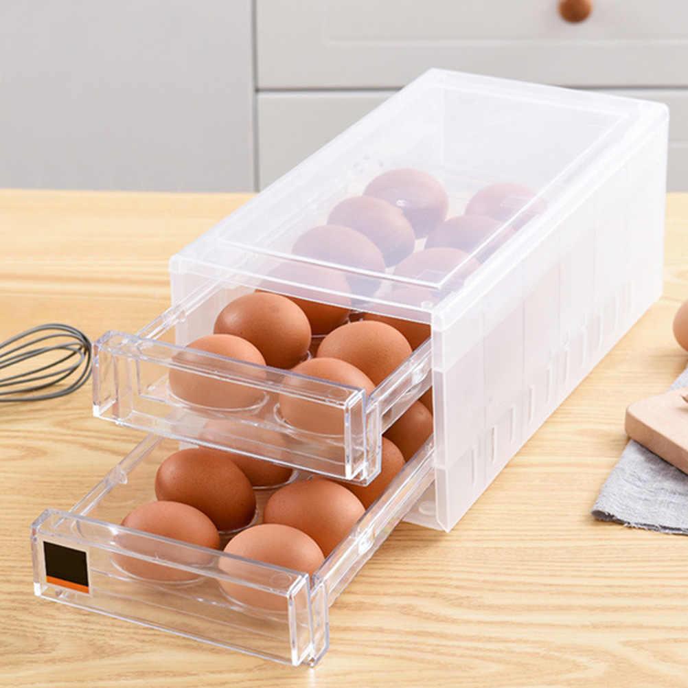 1pc of 12 Grids Stackable Egg Holder Fridge Tray Storage Container Removable Lid