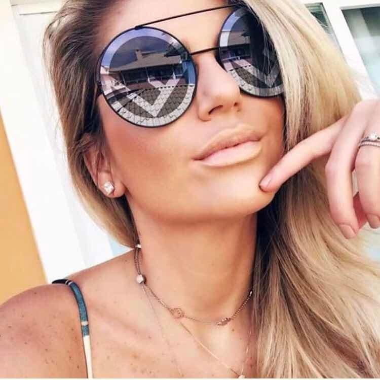 Eoome Fashion Designer WomenBig Round Oversize Sun Glasses High Quality Hot 2020 New Arrival Female De Grau Feminino  With Case