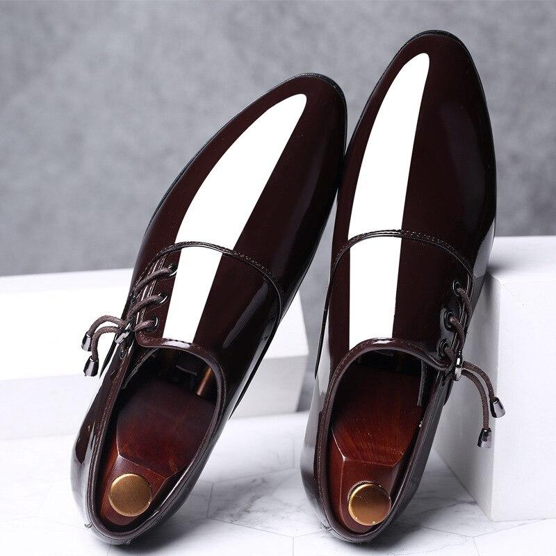 Fashion Men's Casual Patent Leather Shoes Men Luxury Classic Business Wedding Office Elegant Formal Shoes Zapatos De Hombre