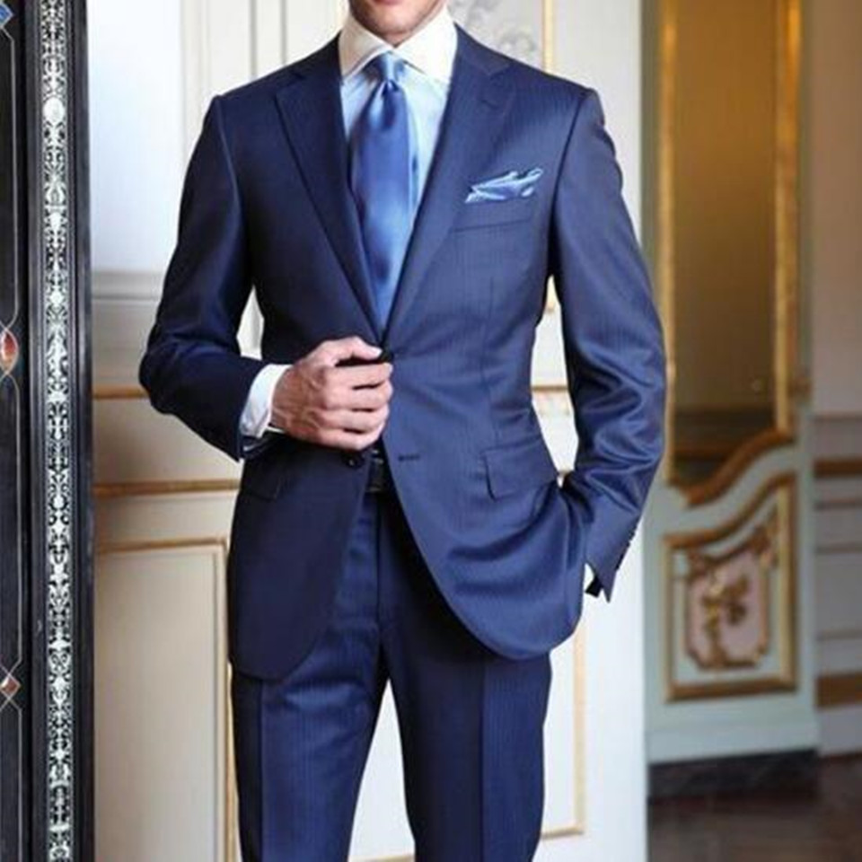 New Men's Suit Smolking Noivo Terno Slim Fit Easculino Evening Suits For Men Navy Blue Wedding Prom Notched Lapel Groom Tuxedos