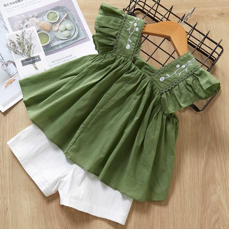 เด็กหญิงชุดเสื้อผ้าฤดูร้อนสไตล์ใหม่เด็กเสื้อผ้าเด็กเสื้อยืดแขนสั้น + กางเกงชุด 2Pcs เด็กเสื้อผ้าชุด