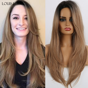 LOUIS FERRE Women's Synthetic Wig Long Straight Layered Hairstyle Ombre Black Brown Wigs Side Part Cosplay Wig Heat Resistant wignee hand made front ombre color long blonde synthetic wigs for black white women heat resistant middle part cosplay hair wig