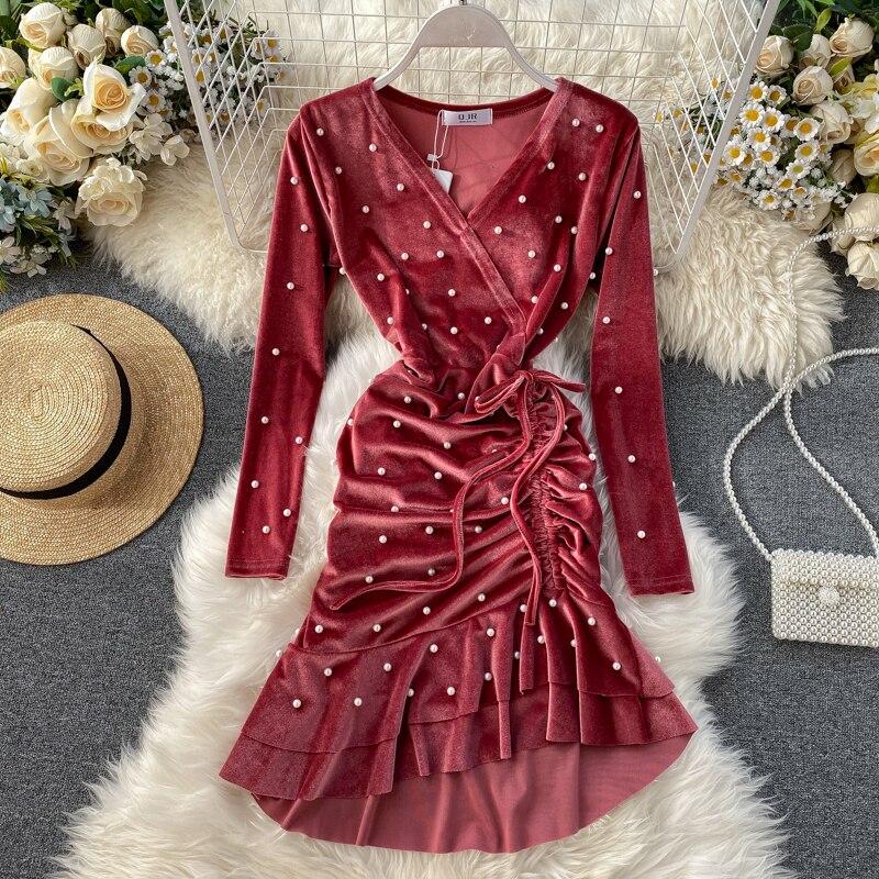 Gaganight, бисероплетение, вельветовое женское вечернее платье, весна 2020, Новые Модные Элегантные платья, женские шикарные банкетные однотонные...
