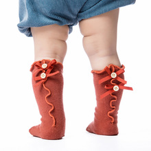 Lace Socks Clothing Newborn-Baby Cotton Children Bow Knee-Length Knot Fungus