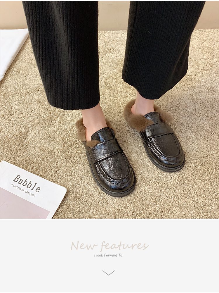 Cover Toe Female Shoes Loafers Womens Slippers Outdoor Mules Sexy Platform Slides Fur Flip Flops 2019 Soft Flat Plush PU with 31