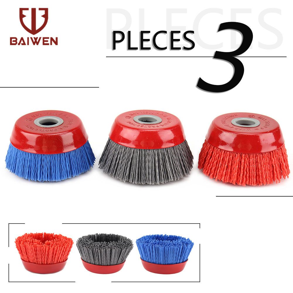 80mm Nylon Cup Brush Abrasive Wire Wheel Brush For Drill Rotary Tool Wood Polishing Deburring Cleaning