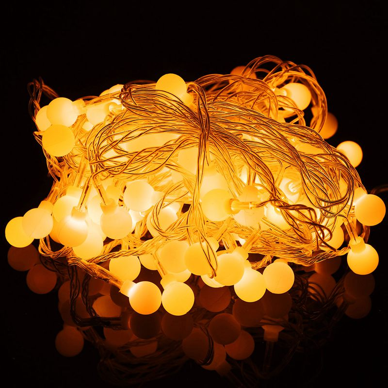 EU Plug 10M 100 LED Balls Fairy LED String Light Bulbs Multicolor Party Wedding Christmas Garden Outdoor Decor 220V