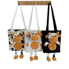 Женская Холщовая Сумка с мультяшным принтом коровы модная сумка