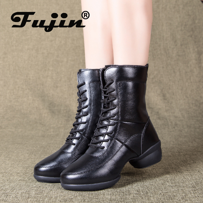 Fujin Women Boots Snow Waterproof Genuine Leather Boots Breathable Comfortable Soft Platform Women Boots Winter Warm Shoes 2020