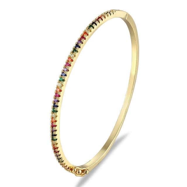 New Design High Quality Charm Rainbow Bangles Copper Zirconia Rhinestone Cuff Bangle Trendy Jewelry Gift For Women Girls 6