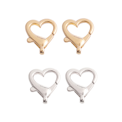 26*21.5mm Silver KC Gold Heart Shape Lobster Clasp Hooks Necklaces Bracelet Chain Connectors For DIY Jewelry Finds Accessories