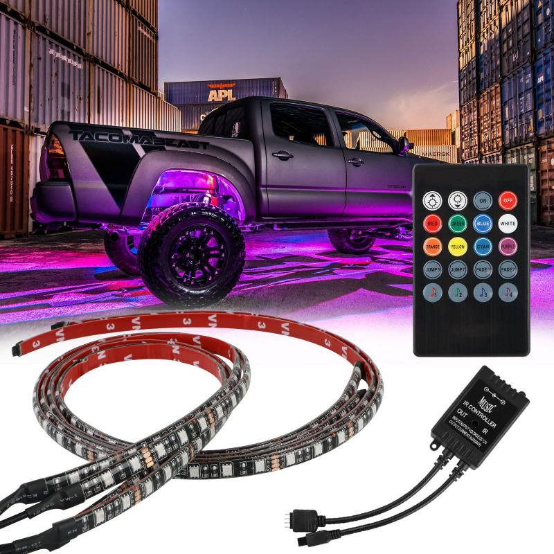 4pcs With Remote Car RGB LED Strip 5050 SMD Decorative Atmosphere Lamps Under Car Tube Underglow Underbody System Neon Light Kit image