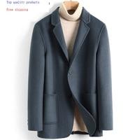 Men's Wool Coat Casual Double sided Wool Jacket Blazer Slim Fit Mens Coats Overcoat Abrigo Hombre 2020 4885 KJ3623
