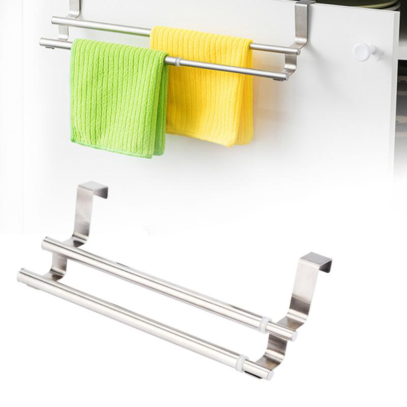 Hot Sale Stainless Steel Telescopic Double Layers Towel Holder Rack Hanger Organizer For Bathroom Kitchen Home Storage Cheapsale