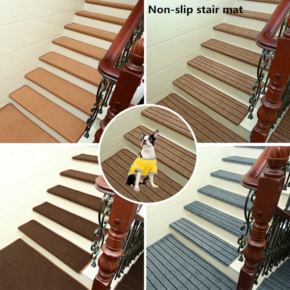 1 13Pcs Set Non Slip Carpet Stair Tread Mats Staircase Step Rug | Protecting Carpet On Stairs | Stair Treads Carpet | Carpet Mats | Non Slip Mat | Self Adhesive | Flooring