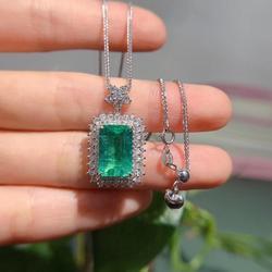 AEAW-collier en diamant pour femmes, 18K, or blanc, 4,195ct, pierre précieuse verte, 1.179ct