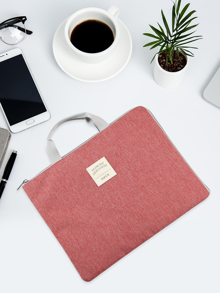 File Bag Canvas Waterproof Zipper Bag File Package Female A4 Portable Information Bag Business Men's Office  Ipad Bag