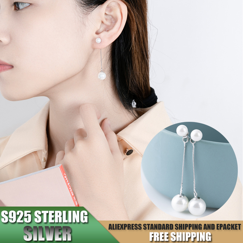 S925 Sterling Silver Tassels Earrings for Women Earrings with Pearl Jewelry Accessories Wholesale B064