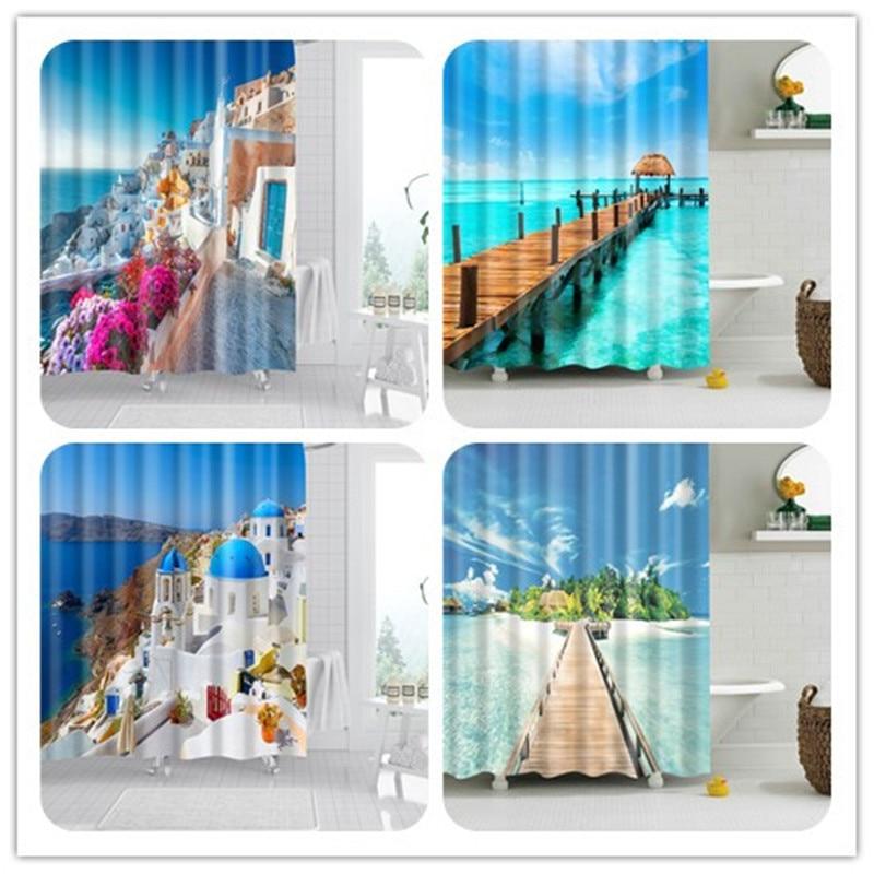 3D Beach Printed Fabric Shower Curtain set Waterproof Sea Scenery Bath Screen Bathroom Curtain with 12 Hooks Decoration