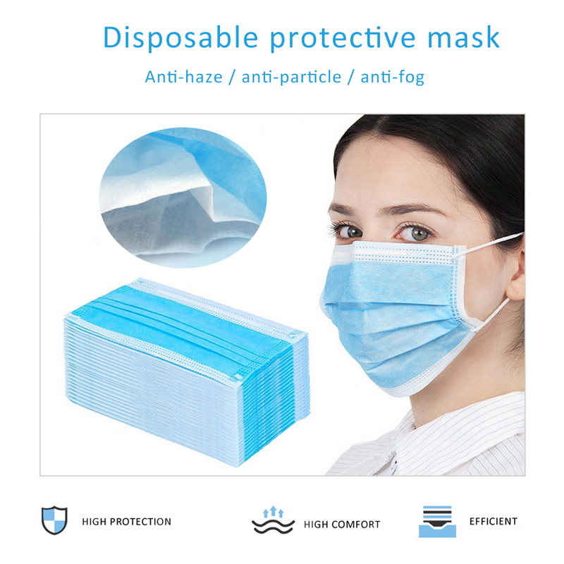 50pcs Protection Unisex Masque Disposable Non-Woven Mask Three-layer Filter Anti-dust Mouth Nose Coronavirus Face Mouth Masks