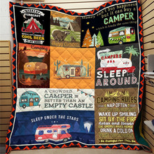 Summer Quilt Blanket Aircondition Happy Camper Bedspread Printed Comfortable 3D Green