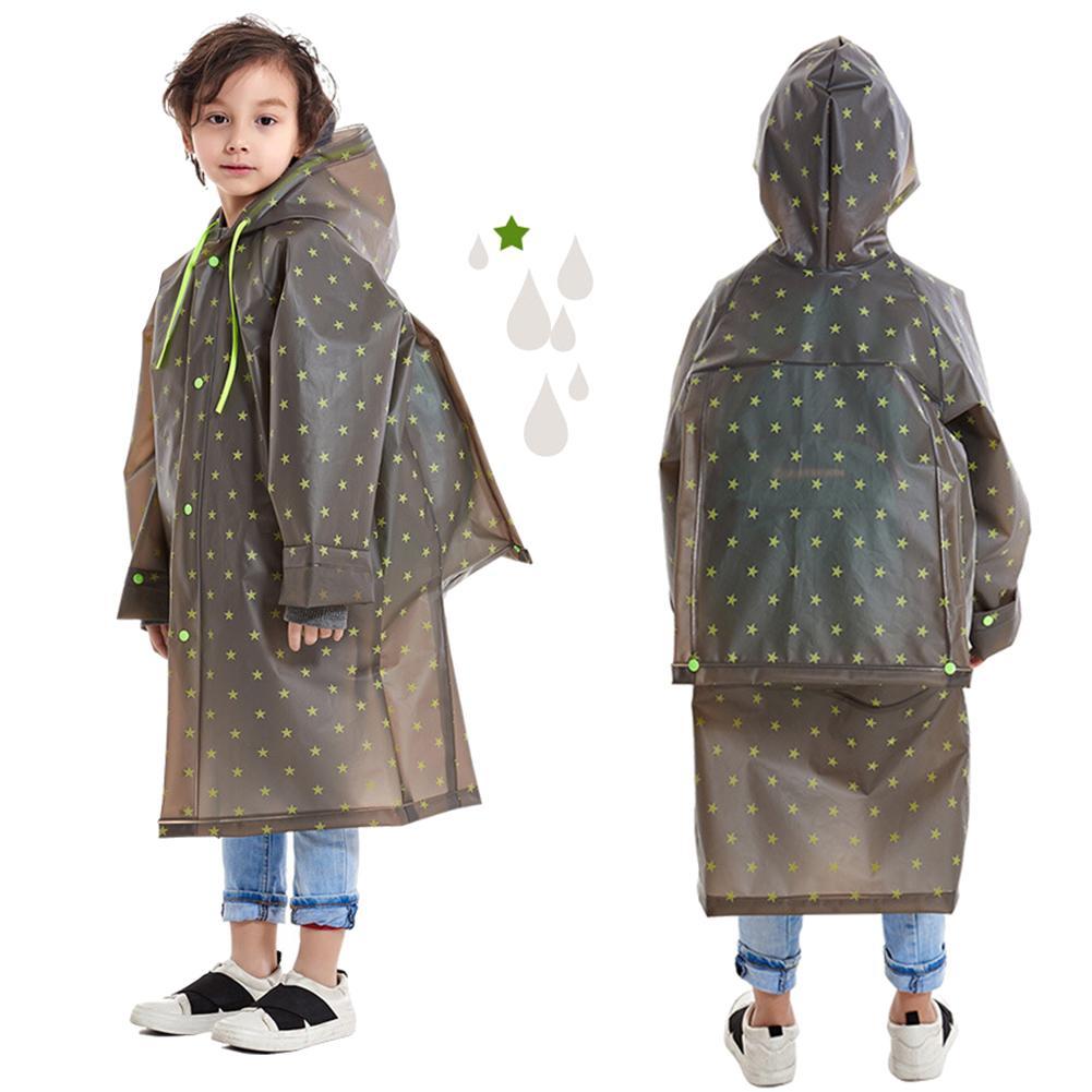 Kids Raincoat Waterproof Impermeable Poncho EVA Hooded Schoolbag Cover Rainwear For Children school travel outdoor walking