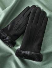 Feiqiaosh/зимние черные теплые женские перчатки из замши с бархатным