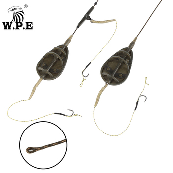 W.P.E Carp Fishing 1pcs 40g-80g Method Feeder Rig Hair Europe Group Lead Core Line ARC Flat Tackle
