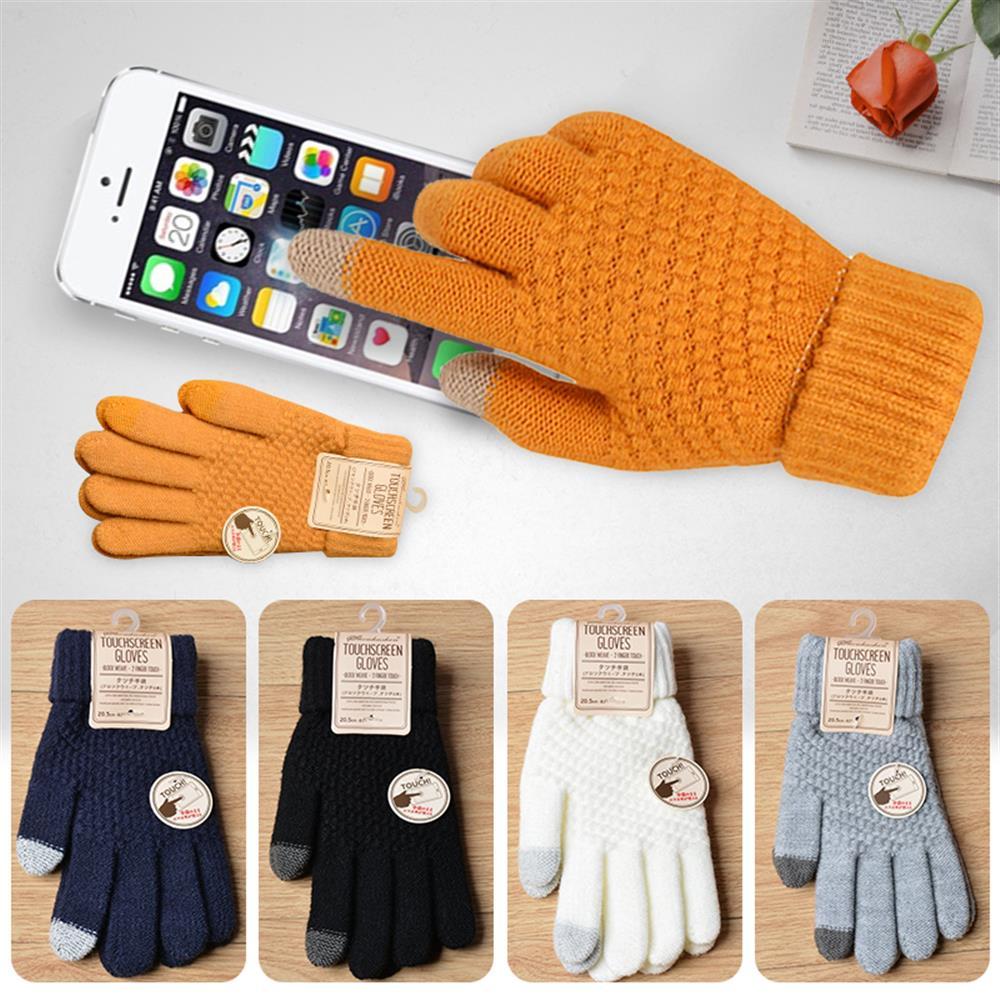 Winter Touch Screen Gloves Women Men Warm Stretch Knit Mittens Imitation Wool Full Finger Guantes Female Crochet Thicken