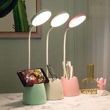 Lámpara de mesa LED con soporte para bolígrafo de teléfono, Flexo de escritorio con atenuación táctil, recargable vía Usb, protección ocular, luz de noche junto a la cama