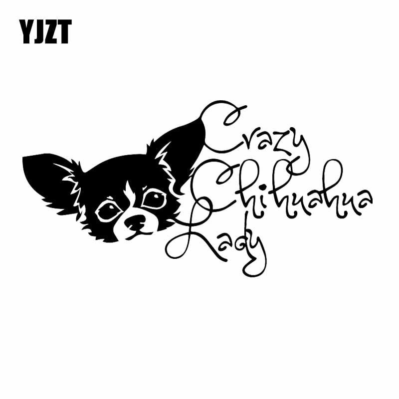 YJZT 19X9.6CM Crazy Chihuahua Lady Vinyl Decal Window Bumper Car Sticker Decor Dog Pet Chi Love Dogs Black/Silver C24-1442