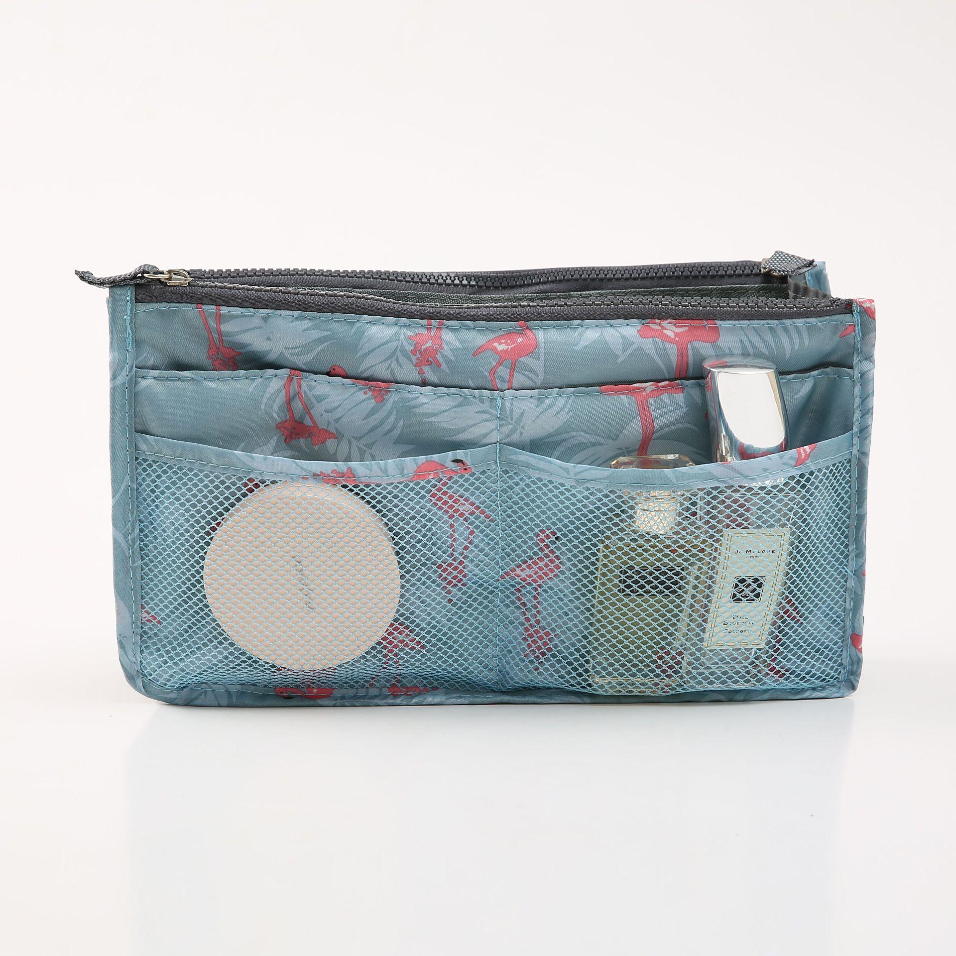 FUDEAM Polyester Flamingo Portable Cosmetic Bag Women Multifunction Travel Storage Organize Handbag Make up Cosmetic Cases