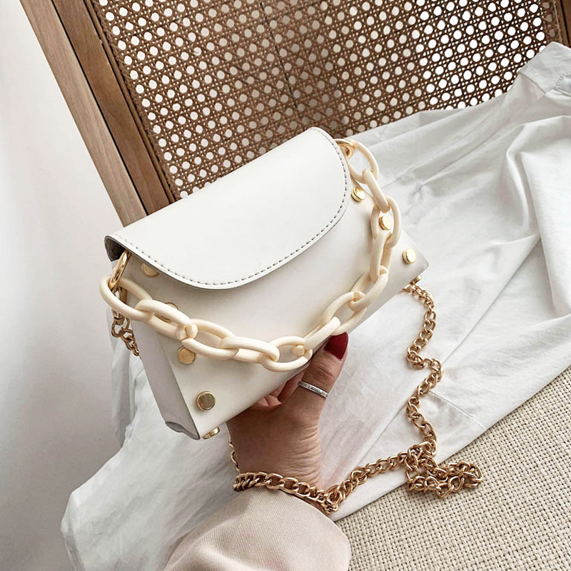 French Niche Female Bag 2020 New Girl Wild Shoulder Bag Personality Trend Diagonal Bag Fashion Rivet Chain Small Square Bag